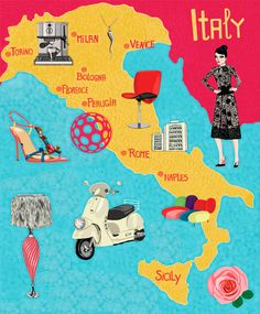 Modern icon map of Italy