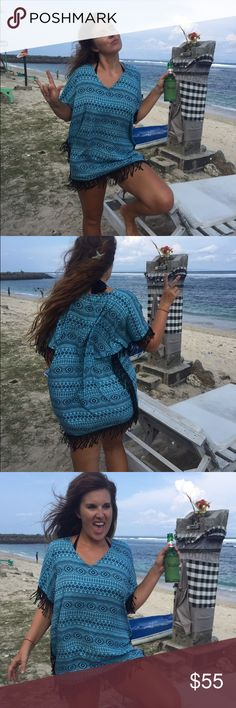 *The Sunset fringe kaftan in blue boho Handmade in bali from gorgeous rayon cotton tie dye fabric, the sunset fringe kaftan is a new look for festival summer 2017. Gorgeous universal fit with fringe trim adds a unique dynamic to your boho collection! One size handmade Tops Tunics