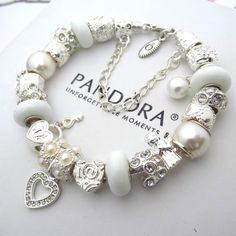 Authentic PANDORA Sterling Silver Bracelet with White Pearlescent Charms Heart  #PandoraBracelet #European