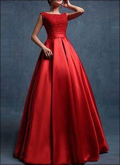 Red floor length satin wedding dress long prom dresses - Beauty is Art Red Wedding Dresses, Grad Dresses, Dress Outfits, Fashion Dresses, Dress Prom, Dress Long, Dress Formal, Red Ball Gowns, Red Gowns