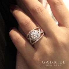 """Gabriella"" 18K white/rose gold round split shank engagement ring at DND Jewelers"