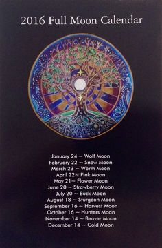 "2016 Full Moon Calendar tree of life Mandala-  5""x8"" lunar calendar"