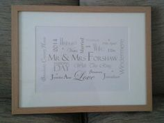 personalised wedding day gift.  framed wedding day details.