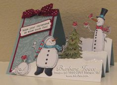 snow much fun step card - stampin up - splitcoaststampers Fun Fold Cards, Cool Cards, Folded Cards, Snow Much Fun, 3d Christmas, Handmade Christmas, White Christmas, Center Step Cards, Holiday Cards
