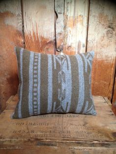olive n grey Pendleton pillow