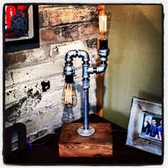 Edison pipe lamp on wood base by Industrealchic on Etsy, $120.00