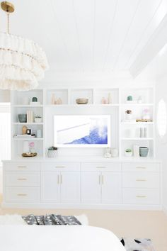 5 Essentials Tips For A Successful Living Room Design Project - Sweet Crib Built In Tv Wall Unit, Built In Shelves Living Room, Bedroom Built Ins, Tv In Bedroom, Bookshelves Built In, Basement Bedrooms, Living Room Tv, Home And Living, Bedroom Decor