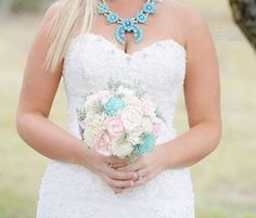 Handmade Alternative Wedding Bouquet Sola Flowers Ivory Turquoise Blush Bridal Bouquet Wood Flowers by CuriousFloral