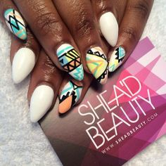 White x Aztec #nails #SheaD #sheadbeauty #nailart #beauty #london #stiletto #spring #summer #artist