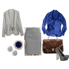 Soft gray with silky blue blouse. Choose a lower heel and this outfit rocks!