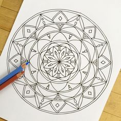 Mandala Tranquil Hand Drawn Adult Coloring Page от MauindiArts