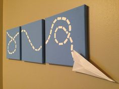 Paper Airplane Triptych (Set of 3) Nursery/Child's room decor on canvas (10x10) on Etsy, $29.99