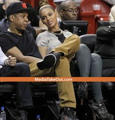 AWWW . . . HOW CUTE!!! Jay Z And Beyonce Were At A Basketball Game . . . And Hip Hop's FIRST COUPLE . . . Wore MATCHING SHOES!!!