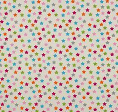 Tela 100% algodón deimportación(Alemania). Sobre fondo crema grandes estrellas multicolores. Con cerficadoOeko-Tex Standard 100. Ancho 148 cm. Es ligera, ide