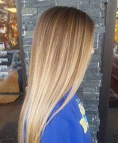 Straight Long Bronde Hair with Caramel and Beige-Blonde Balayage Straight Long Bronde Long Bronde Hair, Balayage Straight Hair, Straight Hair With Highlights, Beige Blonde Balayage, Dark Blonde Hair, Winter Blonde, Beliage Hair, Curly Hair, Brown Ombre Hair