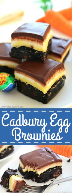 Egg Brownies Cadbury Egg Brownies - You will find layers of the sweet filling that you find in those yummy gooey eggs.Cadbury Egg Brownies - You will find layers of the sweet filling that you find in those yummy gooey eggs. Brownie Desserts, Brownie Recipes, Just Desserts, Delicious Desserts, Dessert Recipes, Cadbury Recipes, Sweet Desserts, Candy Recipes, Recipes Dinner