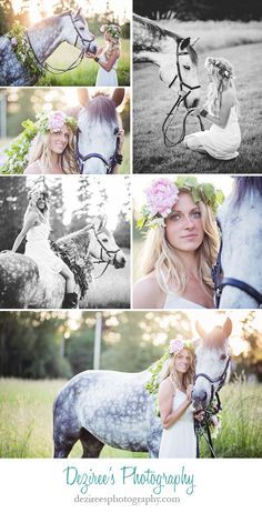 Gorgeous, boho inspired photos from a summer equestrian shoot with Vinny, a grey horse, and his rider, Brittany. Beautiful dapple grey horse and lady with flowers in her hair. Horse Senior Pictures, Pictures With Horses, Horse Photos, Animal Pictures, Senior Pics, Senior Session, Girl Pictures, Pretty Horses, Horse Love