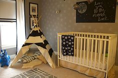 Design Idea: Trade out the glider for a teepee as your little one transitions to a big kid!