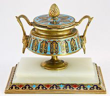 Antique French Champleve Enamel & Marble Mounted Large Inkwell, Ink Stand   from Antiques & Uncommon Treasure on Ruby Lane