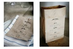 kraft paper bag menus