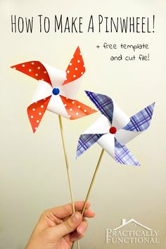 4th of July Pinwheel with FREE Printable! FREE 4th of July Printables