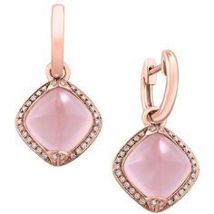 Effy Diamond, Rose Quartz and 14K Rose Gold Drop Earrings ($1,440) ❤ liked on Polyvore featuring jewelry, earrings, pink, 14 karat gold hoop earrings, 14k rose gold earrings, diamond earrings, pink diamond earrings and pink hoop earrings