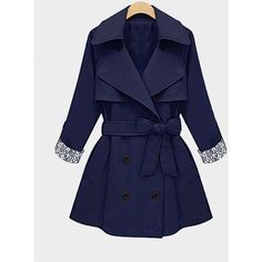 Yoins Yoins Plus Size Navy Lapel Coat ($47) ❤ liked on Polyvore featuring outerwear, coats, coats & jackets, navy, long sleeve coat, lapel coat, tie belt, navy coat and plus size coats