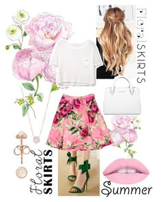 """FloralSkirts"" by alannahill4 ❤ liked on Polyvore featuring Love Moschino, MANGO, Latelita, Michael Kors and Floralskirts"