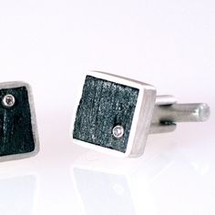Diamonds in Charcoal Sterling Silver Cufflinks by christinebossler