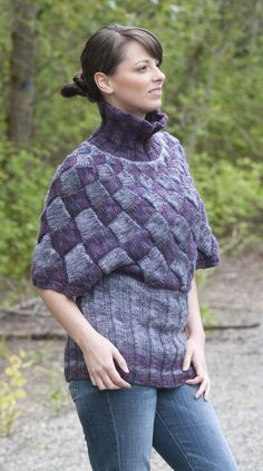 Free knitting pattern for Entrelac Poncho