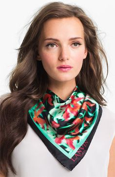 Lanvin 'Orchid' Square Silk Scarf available at #Nordstrom