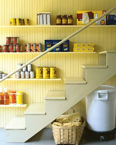 Add shelves on the wall of your basement stairs for pantry storage (Only if your basement stairs are wide enough) Basement Storage, Basement Stairs, Stair Storage, Pantry Storage, Closet Storage, Stair Shelves, Storage Shelves, Food Storage, Staircase Storage