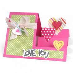 Sizzix Framelits Die Set - 660025 Hearts Step-Ups Card by Stephanie Barnard Pop Up Box Cards, 3d Cards, Folded Cards, Side Step Card, Love Shape, Step Cards, Create And Craft, Custom Greeting Cards, Anniversary Cards