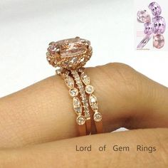 Oval Morganite Engagement Ring Trio Sets Pave Diamond Wedding Rose Gold - Lord of Gem Rings - 1 Wedding Jewelry Sets, Wedding Rings For Women, Engagement Jewelry, Bridal Jewelry, Wedding Bands, Morganite Engagement, Morganite Ring, Moissanite Rings, Halo Engagement