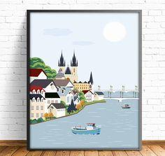 Praga, ilustración Praga, cuadro Praga, laminas imprimibles, laminas ciudades, cuadro ciudades, arte moderno, incluye 4 tamaños