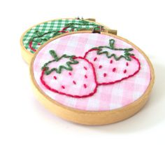 Strawberry Gingham Embroidery Hoop Art