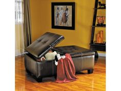 Brown Leather Storage Ottoman - American Signature Furniture