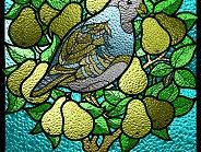 A Partridge in a Pear Tree Stained Glass Window