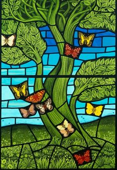 Trees & Butterflies stained glass panel by Brian James Waugh, Glasgow, UK