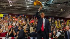 "10/11/16 Donald Trump's Core Supporters Stand By Him And Don't Make Much Of Video : NPR  Republican candidate for President Donald J Trump waves a ""Terrible Towel"" — an icon of the Pittsburgh Steelers — to supporters in Ambridge, Penn., on Monday Jeff Swensen/Getty Images"