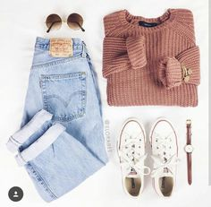 love the faded levis and chunky sweater - Outfits - Teen Fashion Outfits, Outfits For Teens, Fall Outfits, Summer Outfits, Womens Fashion, Latest Fashion, Winter Outfits For School, Dress Fashion, Fashion Top