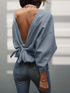Solid Knot Open Back Bat-Wing Sleeve Sweatshirt spring outfit ideas Look Fashion, Fashion Outfits, Womens Fashion, Fashion Tips, Fashion Trends, Fashion Ideas, Winter Fashion, Fashion Details, 90s Fashion