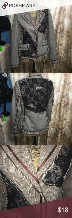 Brown black lace patched jacket. Really pretty brown with black lace and brown trim jacket. Copper buttons and 2 front pockets. Really good condition. Entity Jackets & Coats Blazers