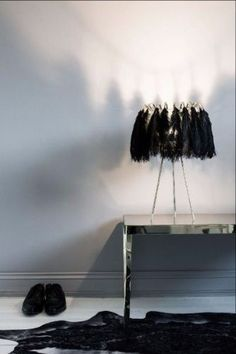 Feather Table Lamps in Black or White
