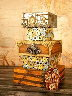 Steampunk cake - I love the gears and time aspect of Steampunk, so made a cake in that theme for fun. :)