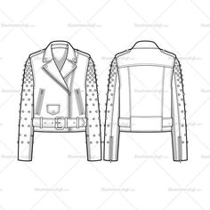 Fashion Drawing Fashion Flat Vector Template Women's sketch of a moto jacket with a gradation studded design at sleeves. Sketches are CADed up and all the outline strokes are connected. Flat Drawings, Flat Sketches, Fashion Illustration Sketches, Fashion Sketches, Woman Sketch, Illustrator, Fashion Templates, Fashion Design Drawings, Fashion Drawings