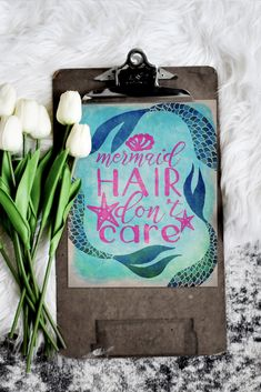 Blue and Pink Mermaid Don't Care Mermaid Room Decor, Mermaid Wall Art, Beach Wall Art, Beach House Decor, Home Decor, Ocean Art, Printable Wall Art, Gift Guide, Pixie