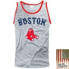 Boston Red Sox Majestic Threads Tri-Blend Tank Top - Gray - $31.99