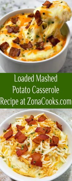 Loaded Mashed Potato Casserole for Two is comfort food at its finest. It has a light, fluffy, creamy texture coupled with the flavors of bacon, cheese and chives. This recipe is the perfect side dish and serves two. #potatoes #MashedPotatoes #casserole #sidedish #SmallBatch Loaded Mashed Potato Casserole, Potatoe Casserole Recipes, Cooking For Two, Meals For Two, Side Dish Recipes, Side Dishes, Breakfast Recipes, Bacon, Cooking Recipes