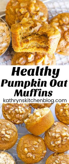 Recipes Breakfast Muffins These Healthy Pumpkin Oat Muffins are naturally sweetened and have a hint of pumpkin! They are gluten-free and make a perfect on-the-go breakfast! Oats Recipes, Gourmet Recipes, Sweet Recipes, Dessert Recipes, Flour Recipes, Healthy Treats, Healthy Baking, Healthy Desserts, Healthy Kids